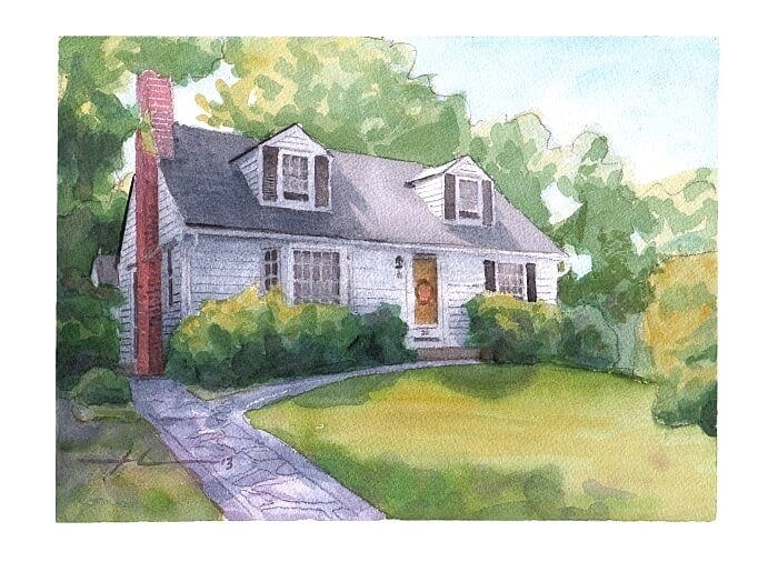 Watercolor house portrait from a photo of grandma's home by portrait artist Mike Theuer.