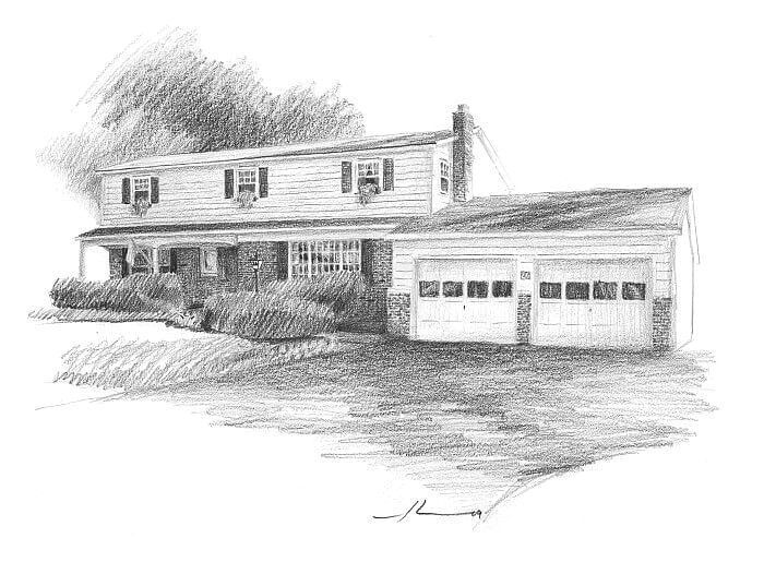 Pencil house portrait from a photo of grandmother's house by portrait artist Mike Theuer.