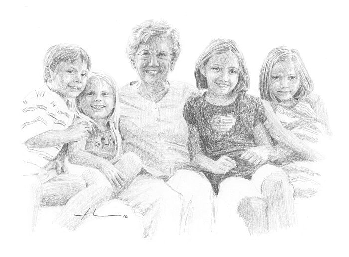Pencil portrait from a photo of a grandmother and her grandkids by portrait artist Mike Theuer.