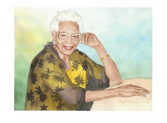 Watercolor portrait from a photo of grandmother by portrait artist Mike Theuer.
