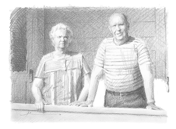 Pencil family portrait from a photo of grandparents on their porch by portrait artist Mike Theuer.
