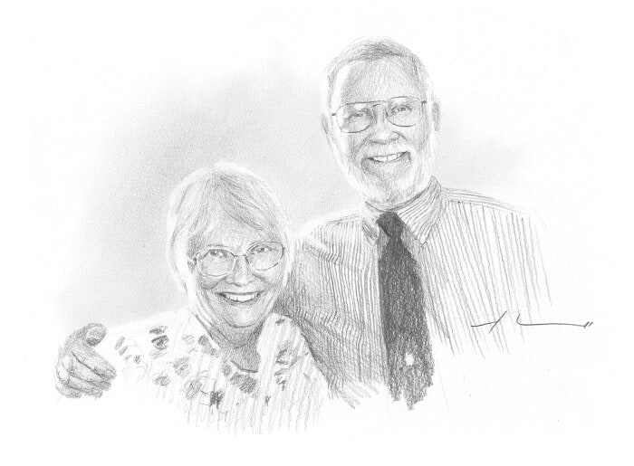 Pencil portrait from a photo of grandparents by portrait artist Mike Theuer.