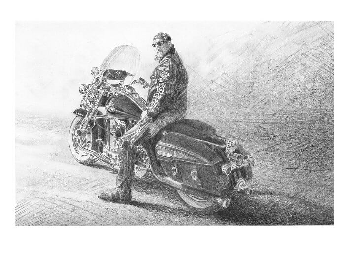 Pencil portrait from a photo of guy on his Harley by portrait artist Mike Theuer.