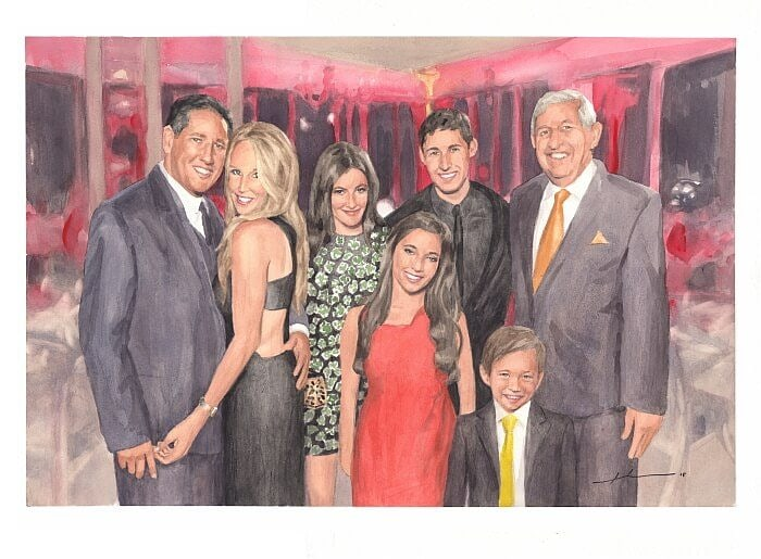 Watercolor family portrait from separate photos of a hollywood family by portrait artist Mike Theuer.