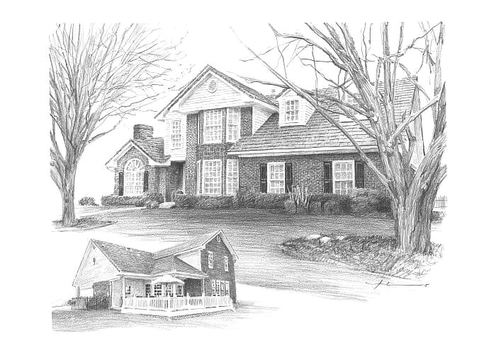 Pencil house portrait from separate photos of a home front and back by portrait artist Mike Theuer.