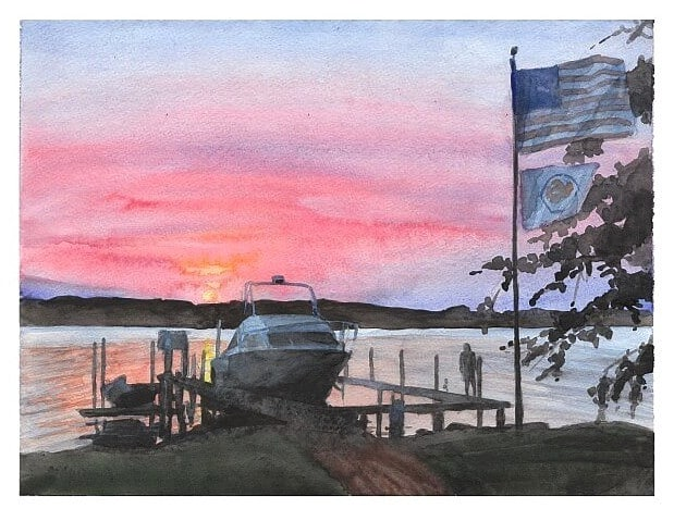Watercolor lakeside portrait from a photo of a lake shore at sunset by portrait artist Mike Theuer.