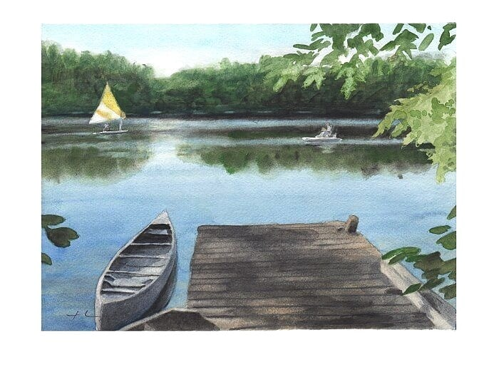 Watercolor lakeside portrait from a photo of a lake shore and dock by portrait artist Mike Theuer.
