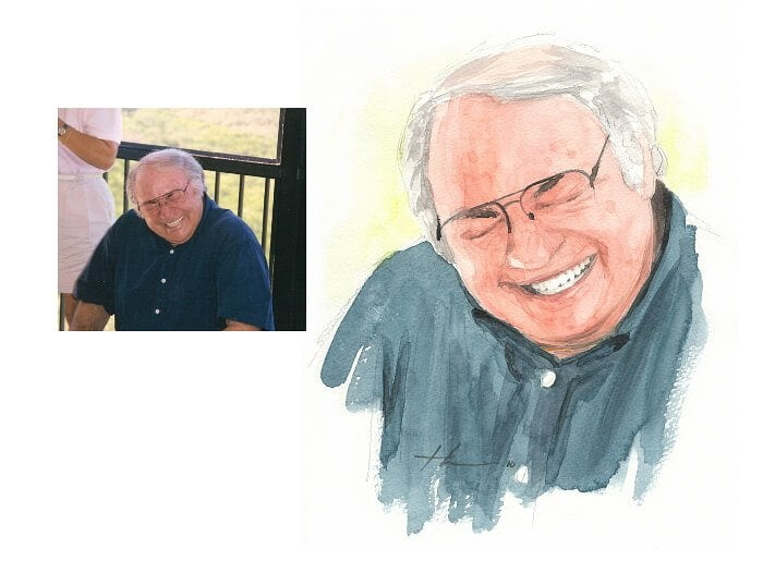 Watercolor portrait from a photo of grandpa laughing by portrait artist Mike Theuer. Photo reference included.