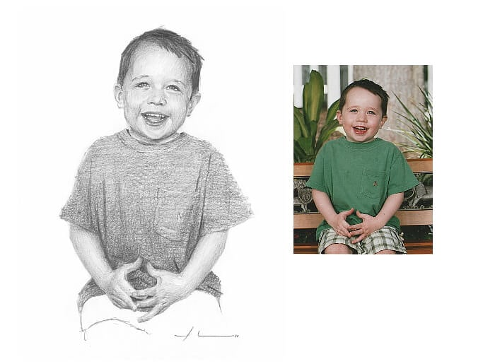 Pencil portrait from a photo of a happy boy by portrait artist Mike Theuer. Photo reference included.