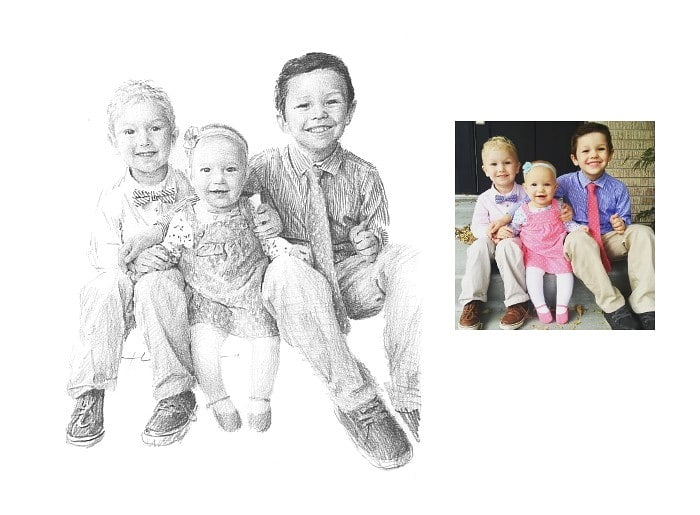 Pencil family portrait from a photo little brothers and baby sister by portrait artist Mike Theuer. Photo reference included.