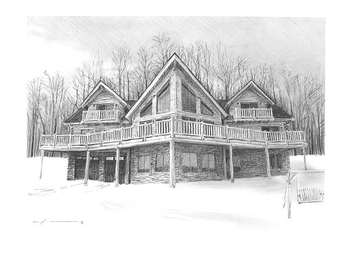 Pencil house portrait from a photo of a modern log cabin by portrait artist Mike Theuer.