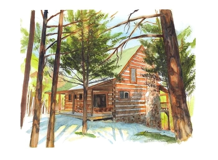 Watercolor house portrait from a photo of a modern log home by portrait artist Mike Theuer.
