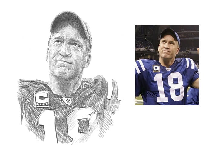 Pencil portrait from a photo of Peyton Manning by portrait artist Mike Theuer. Photo reference included.