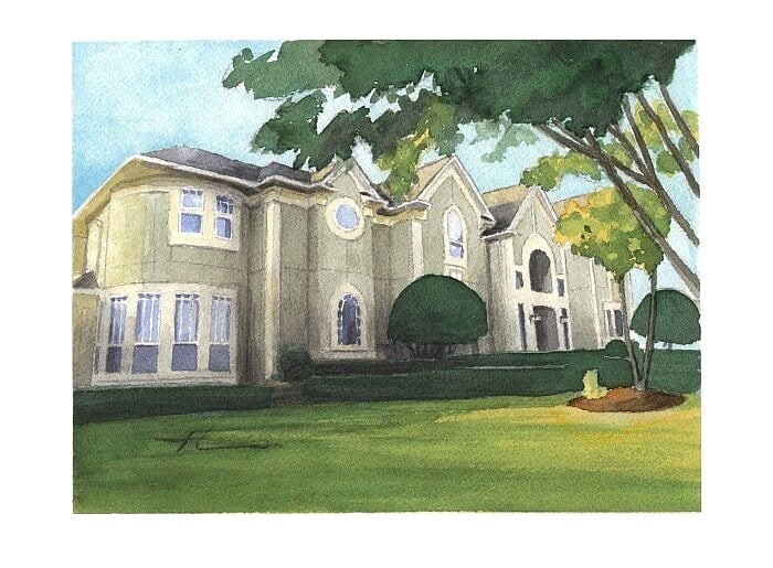 Watercolor house portrait from a photo of a modest mansion by portrait artist Mike Theuer.