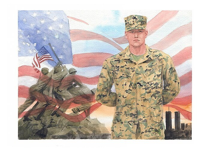Watercolor portrait from separate photos of a marine by portrait artist Mike Theuer.
