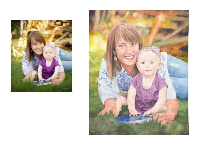Watercolor portrait from a photo of a mom and baby on the lawn by portrait artist Mike Theuer. Photo reference included.