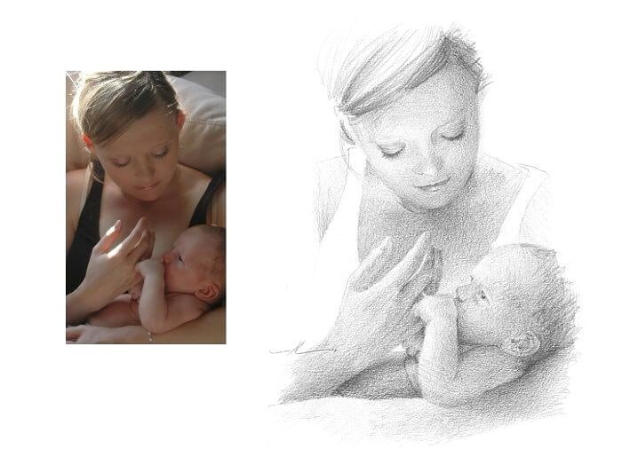 Pencil portrait from a photo of a mom and her baby by portrait artist Mike Theuer. Photo reference included.