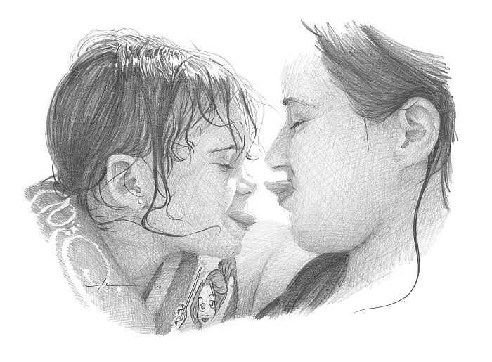 Pencil portrait from a photo of a mom and daughter at a pool by portrait artist Mike Theuer.