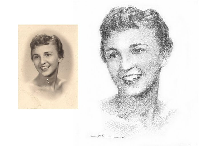 Pencil portrait from a photo of mom in highschool by portrait artist Mike Theuer. Photo reference included.