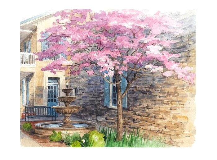 Watercolor house portrait from a photo of the exterior courtyard of a house museum by portrait artist Mike Theuer.