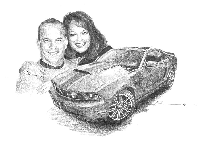 Pencil car portrait from separate photos of a couple and their car by portrait artist Mike Theuer.