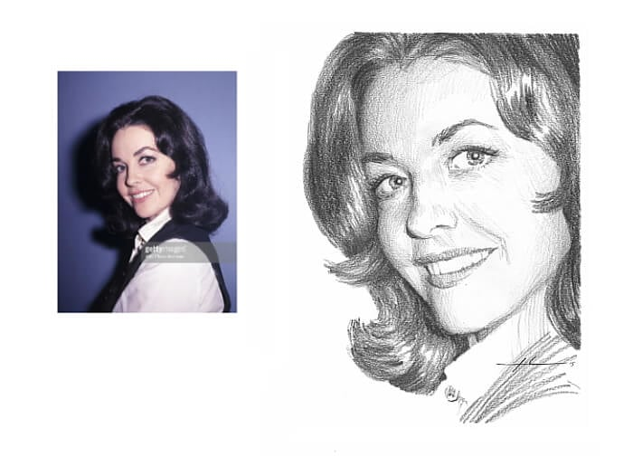 Pencil portrait from a photo of Myrna Fahey by portrait artist Mike Theuer. Photo reference included.