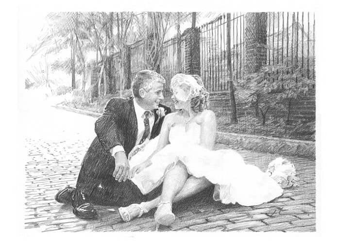 Pencil portrait from a photo of newlyweds by portrait artist Mike Theuer.