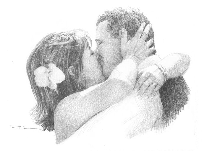 Pencil portrait from a photo of kissing newlyweds by portrait artist Mike Theuer.