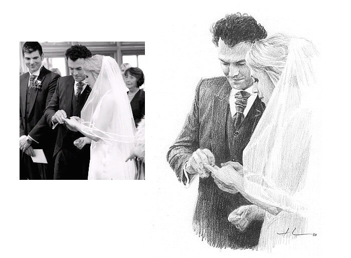 Pencil portrait from a photo of a groom fitting aring on his bride's finger by portrait artist Mike Theuer. Photo reference included.
