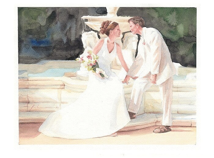Watercolor portrait from a photo of newlyweds by a fountain by portrait artist Mike Theuer.