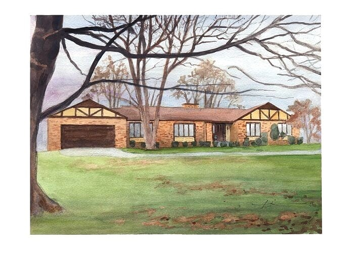 Watercolor house portrait from a photo of an Ohio home by portrait artist Mike Theuer.
