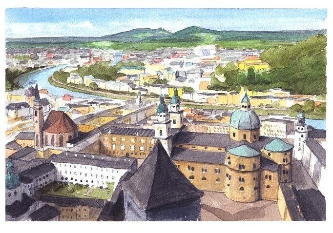 Watercolor city portrait from a photo of Salzburg by portrait artist Mike Theuer.