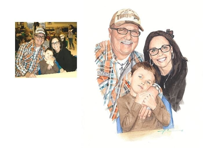 Watercolor family portrait from a photo of a family at school nite by portrait artist Mike Theuer. Photo reference included.