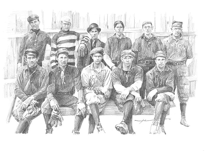 Pencil portrait 1908 C&O railroad semi-pro baseball team from a photo by portrait artist Mike Theuer.