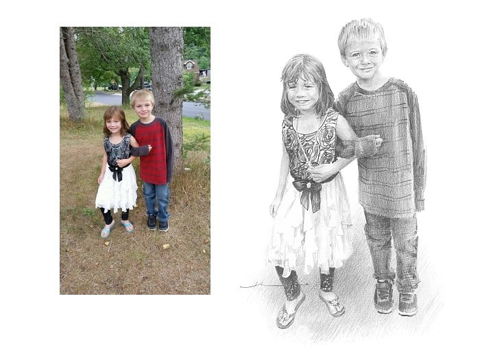 Pencil family portrait from a photo of sister escorting brother by portrait artist Mike Theuer. Photo reference included.