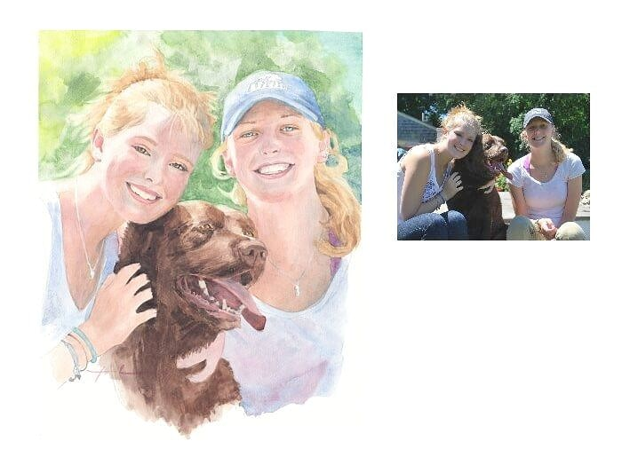 Watercolor portrait from a photo of sisters and their dog by portrait artist Mike Theuer. Photo reference included.