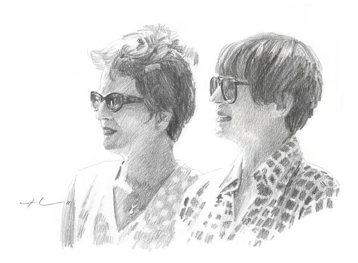 Pencil portrait from a photo of adult sisters by portrait artist Mike Theuer.