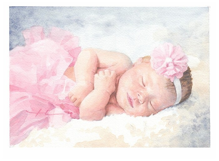 Watercolor portrait from a photo of a sleeping baby girl in a tutu by portrait artist Mike Theuer.