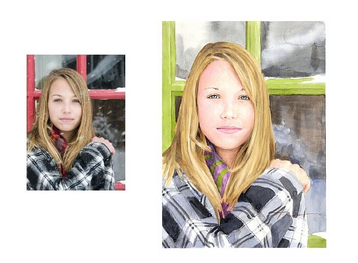 Watercolor portrait from a photo of a girl in winter by portrait artist Mike Theuer. Photo reference included.