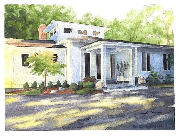 Watercolor house portrait from a photo of home in sun and shadow by portrait artist Mike Theuer.