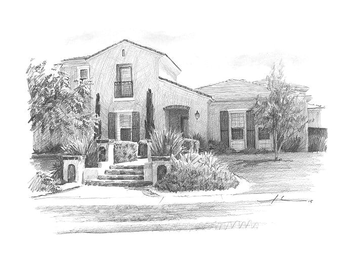 Pencil house portrait from a photo of a south west home by portrait artist Mike Theuer.