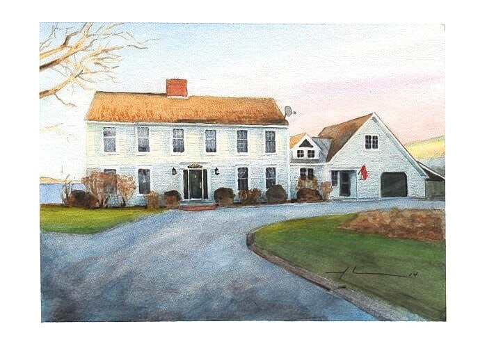 Watercolor house portrait from a photo of a house at sunset by portrait artist Mike Theuer.