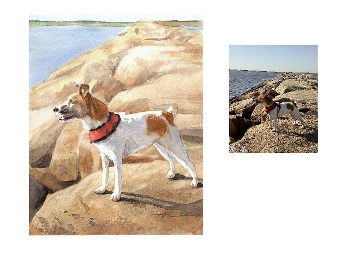Watercolor pet portrait from a photo of a terrier near the ocean by portrait artist Mike Theuer. Photo reference included.