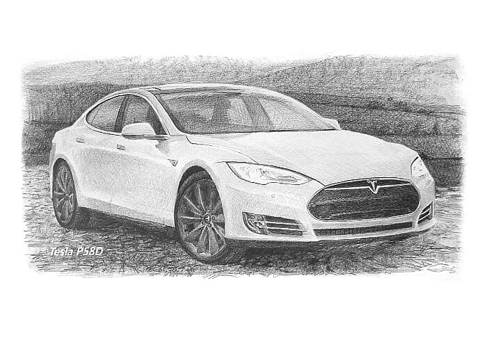 Pencil car portrait from a photo of a Tesla by portrait artist Mike Theuer.