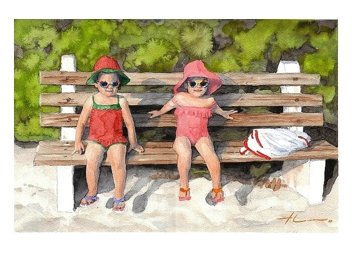 Watercolor family portrait from a photo toddle twin girls at the beach by portrait artist Mike Theuer.