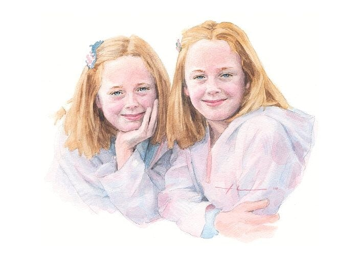 Watercolor family portrait from a photo of twin sisters by portrait artist Mike Theuer.