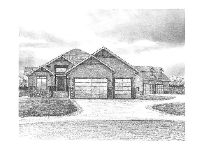 Pencil house portrait from a photo of a new home by portrait artist Mike Theuer.