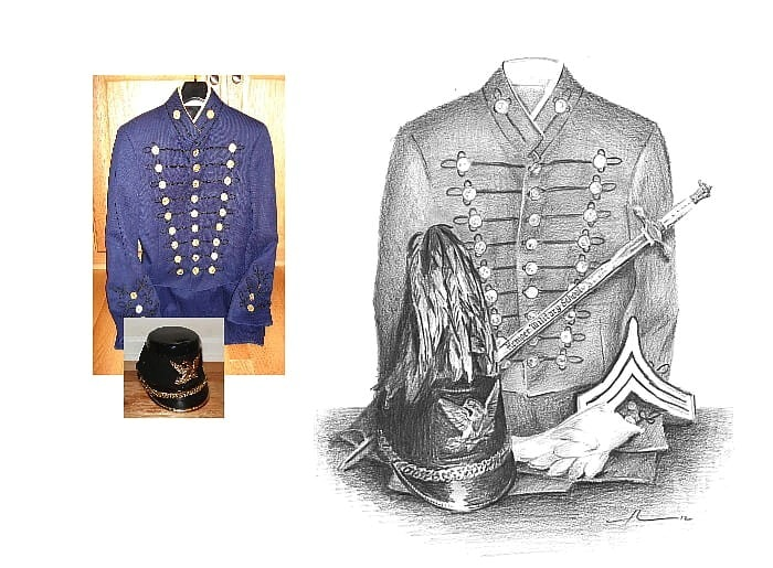 Pencil uniform portrait from separate photos of a West Point uniform by portrait artist Mike Theuer. Photo reference included.