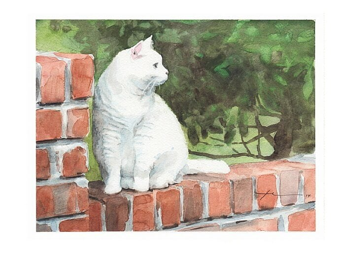 Watercolor pet portrait from a photo of a white cat on a brick wall by portrait artist Mike Theuer.