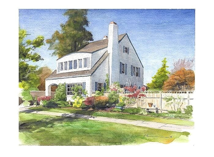 Watercolor house portrait from a photo of a white house with a fence garden by portrait artist Mike Theuer.